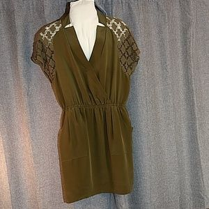 Rebecca Minkoff lace detail olive dress must have